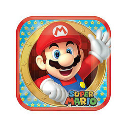 Super Mario Super Mario Bros. 9 Square Plates [8 per Package]