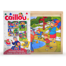 Caillou Caillou 4 in 1 Wooden Puzzles [12 Pieces Each - Assorted