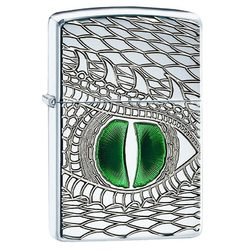 Category: Dropship Lighter, SKU #28807, Title: Zippo Windproof Lighter DRAGON EYE High Polish Chrome Armor