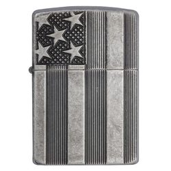 Category: Dropship Lighter, SKU #28974, Title: Zippo Windproof Lighter U.S. Flag Armor Case  Antique Slilver Plate Finish