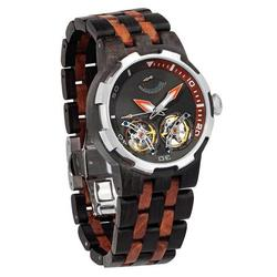 Category: Dropship Watches, SKU #D2, Title: Men Dual Wheel Automatic Ebony & Rosewood Watch - 2019 Most Popular