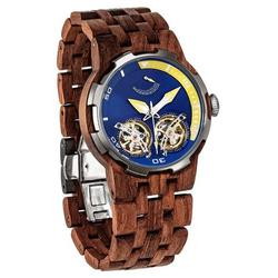 Category: Dropship Watches, SKU #D3, Title: Men Dual Wheel Automatic Kosso Wood Watch - 2019 Most Popular