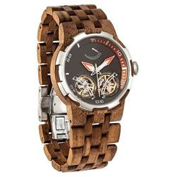Category: Dropship Watches, SKU #D4, Title: Men Dual Wheel Automatic Walnut Wood Watch - 2019 Most Popular