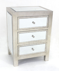 Category: Dropship Home Decor, SKU #274427, Title: Modern Mirrored End Table with 3 Drawers