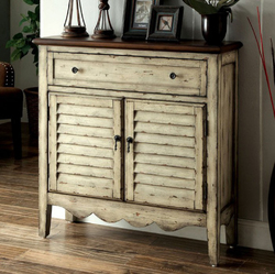 Category: Dropship Kitchen, SKU #300857, Title: Country Style Cabinet, Antiqued White & Brown