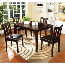 Category: Dropship Kitchen, SKU #302994, Title: 5Pc Dining Table Set, Chair with Pu Cushion, Walnut Finish