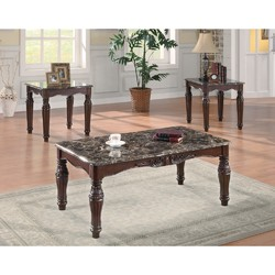 Category: Dropship Home Decor, SKU #309144, Title: 3-Piece Traditional Faux Marble Occasional Table Set, Brown