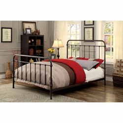Category: Dropship Bath / Bedding, SKU #314871, Title: Metal Eastern King Size Platform Bed with Headboard & Footboard, Deep Bronze