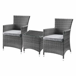 Category: Dropship Garden/outdoor Decor, SKU #318794, Title: 3 Piece Patio Bistro Set In Gray Fabric And Wicker - Synthetic Wicker, Glass, Aluminum, Polyester, Foam