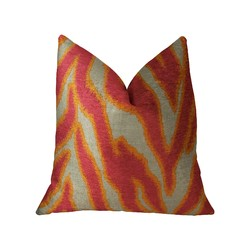 Category: Dropship Bath / Bedding, SKU #325310, Title: Fuchsia Orange and Taupe Handmade Luxury Pillow 12in x 20in