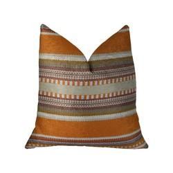 Category: Dropship Bath / Bedding, SKU #325850, Title: Amber Orange Olive and Cream Handmade Luxury Pillow 12in x 20in