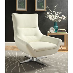 Category: Dropship Garden/outdoor Decor, SKU #339945, Title: Faux Leather Upholstered Metal Accent Chair with Swivel Seat, White