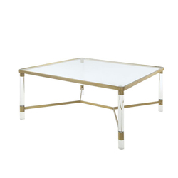 Category: Dropship Home Decor, SKU #341951, Title: Acrylic Coffee Table with Tempered Glass Top and Round Legs, Gold and Clear