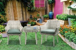 Category: Dropship Garden/outdoor Decor, SKU #342099, Title: Resin Wicker and Metal Patio Bistro Set with Two Chairs and Table, Beige and Green, Set of Three
