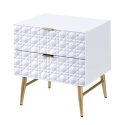 Category: Dropship Bath / Bedding, SKU #342111, Title: Two Drawers Wooden Nightstand with Textured Front Panel and Tapered Legs, White and Gold