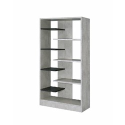 Category: Dropship Office & Supplies, SKU #342211, Title: Faux Concrete Wooden Bookcase with Open Shelves, Gray and Black