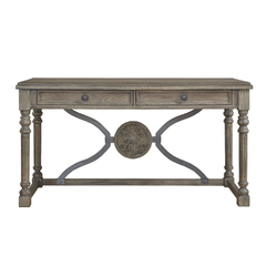 Category: Dropship Office & Supplies, SKU #342308, Title: Two Drawers Wooden Desk with Aesthetic Medallion Metal Accent, Gray and Brown