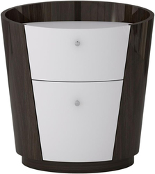 Category: Dropship Bath / Bedding, SKU #342412, Title: Two Drawers Wooden Nightstand with Tapered Bottom, Brown and White