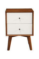 Category: Dropship Office & Supplies, SKU #349679, Title: Nightstand With Two Drawers, Brown and White
