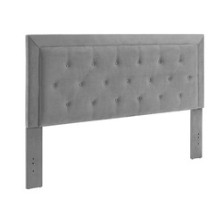 Category: Dropship Bath / Bedding, SKU #351618, Title: Fabric Upholstered King Size Headboard with Button Tufted Accent, Gray