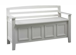 Category: Dropship Home Decor, SKU #351786, Title: Wooden Storage Bench with Flip Top Seat and Ladder Style Back, White