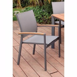 Category: Dropship Garden/outdoor Decor, SKU #301455, Title: Contemporary Arm Chair, Oak & Gray Finish, Set Of 4