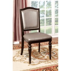 Category: Dropship Home Decor, SKU #301637, Title: Transitional Side Chair With Pvc, Dark Walnut, Set Of 2