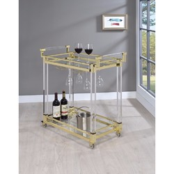 Category: Dropship Kitchen, SKU #309329, Title: Modern Acrylic Serving Cart, Gold and Clear