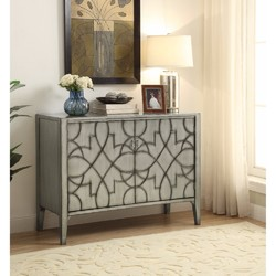 Category: Dropship Kitchen, SKU #310095, Title: Wooden Accent Cabinet With Carved Detailed Pattern, Gray