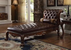 Category: Dropship Home Decor, SKU #313971, Title: Wooden Chaise with 1 Pillow, Cherry Oak Brown