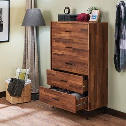 Category: Dropship Kitchen, SKU #314015, Title: Enchanting  Wooden Chest With 5 Drawers, Walnut Brown