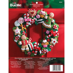 Category: Dropship Special Occasions, SKU #FC01862644, Title: Plaid Bucilla Felt Wreath Applique Kit 15inches Round Cookies & Candy