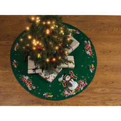 Category: Dropship Special Occasions, SKU #FC01863078, Title: Plaid Bucilla Felt Tree Skirt Applique Kit 43 inches Round Candy Snowman
