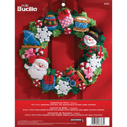 Category: Dropship Special Occasions, SKU #FC01863634, Title: Plaid Bucilla Felt Applique Wall Hanging Wreath Kit 15 X 15 Inches Christmas Toys
