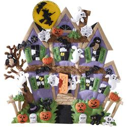 Category: Dropship Special Occasions, SKU #FC01865607, Title: Plaid Bucilla Felt Wall Hanging Applique Kit 18 X 18 inches Haunted House