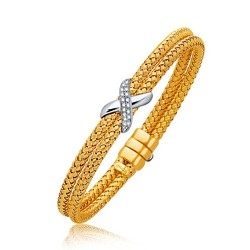 Category: Dropship Jewelry, SKU #46567-7.25, Title: Basket Weave Bangle with Diamond Cross Accent in 14k Tone Gold (7.0mm), size 7.25''