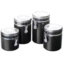 Anchor Hocking 4pc Black Ceramic Canister Set