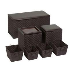 Honey-Can-Do 7pc Ottoman Storage Set Brown