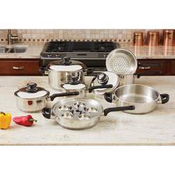 Category: Dropship Kitchen, SKU #KT172, Title: 17pc Stainless Steel Cookware Set
