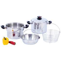 Category: Dropship Kitchen, SKU #KT82, Title: 8qt T304 Stainless Steel Stockpot/Spaghetti Cooker with Deep Fry Basket & Steamer Inserts