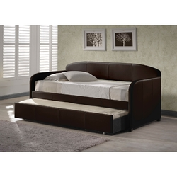 Category: Dropship Bath / Bedding, SKU #BHSD432, Title: Twin size Brown Faux Leather Daybed with Roll-out Trundle