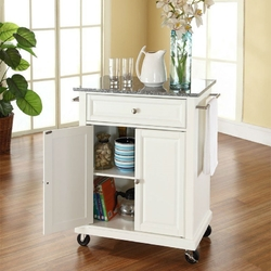 Category: Dropship Kitchen, SKU #CKGTW2291, Title: White Kitchen Cart with Granite Top and Locking Casters Wheels