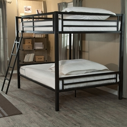 Category: Dropship Bath / Bedding, SKU #DHFB651847, Title: Modern Full over Full Bunk Bed with Ladder in Black Metal Finish