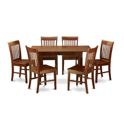 Category: Dropship Home Decor, SKU #EWFSPDS1859812, Title: Mission Style 7-piece Dining Set in Mahogany Wood Finish