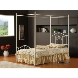Category: Dropship Temporarily Paused Products, SKU #FMCBO310, Title: Full size Traditional Metal Canopy Bed in Off White Finish