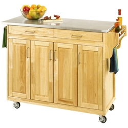 Category: Dropship Kitchen, SKU #HSCKFNB1362841, Title: Stainless Steel Top Wooden Kitchen Cart Island with Casters