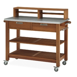 Category: Dropship Outdoors/sport, SKU #HSPB403515, Title: Rust Resistant Steel Top Potting Bench Work Table with Locking Casters