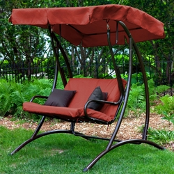 Category: Dropship Outdoors/sport, SKU #LBPS2198, Title: 2-Seat Outdoor Porch Swing with Canopy in Terracotta Red