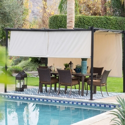 Category: Dropship Outdoors/sport, SKU #LSPGC1898151, Title: 10-ft x 12-ft Dark Brown Steel Metal Pergola Outdoor Gazebo with Retractable Ivory Shade Canopy