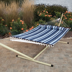 Category: Dropship Temporarily Paused Products, SKU #NQHS51988524, Title: Blue Navy Stripe Quilted 13-Ft Hammock with Heavy Duty Bronze Metal Stand